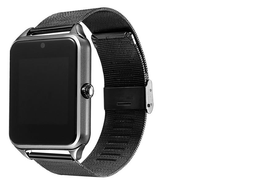 Smartwatch voor Android RVS band - zwart