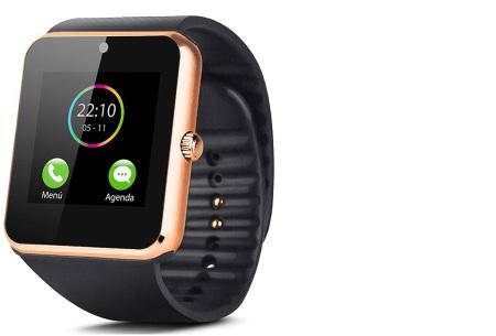 Smartwatch voor Android | Ultieme gadget voor hem en haar siliconen - goudkleurig