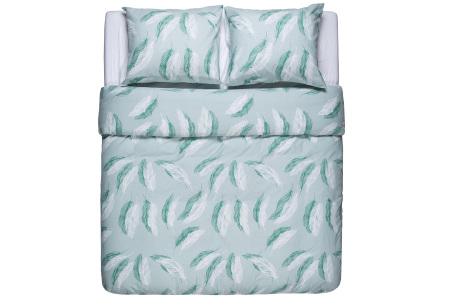 Flanellen dekbedovertrek van Nightlife | Voor een warme en comfortabele nachtrust feathers green