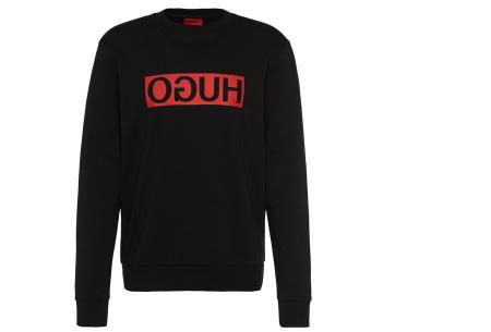 Hugo Boss sweater voor heren | Hippe & comfortabele trui met gespiegeld logo zwart