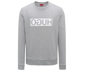 Hugo Boss sweater voor heren | Hippe & comfortabele trui met gespiegeld logo grijs