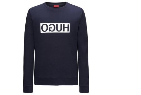 Hugo Boss sweater voor heren | Hippe & comfortabele trui met gespiegeld logo navy