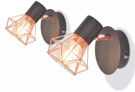 Moderne wandlampen - set van 2 stuks | Stijlvolle design wandverlichting met industrieel tintje Model #2
