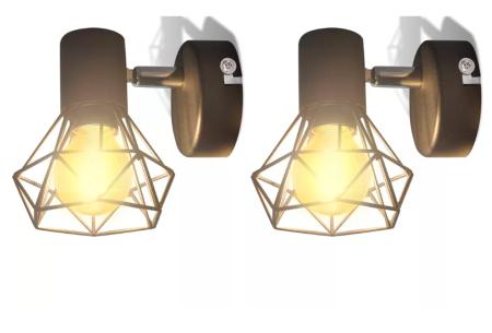 Moderne wandlampen - set van 2 stuks | Stijlvolle design wandverlichting met industrieel tintje Model #3
