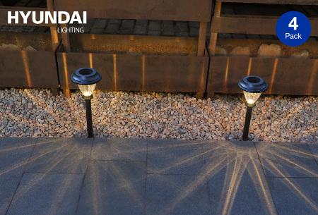 Hyundai LED solar XL tuinlampen | 4-pack sfeervolle tuinverlichting