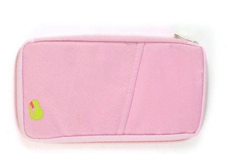 Reistasje verkrijgbaar in 9 kleuren | Bewaar al je vakantiedocumenten netjes bij elkaar Roze