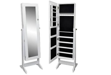 Sieradenkast met spiegel | Stijlvol je sieraden opbergen! Staand model of deurhanger #2 wit