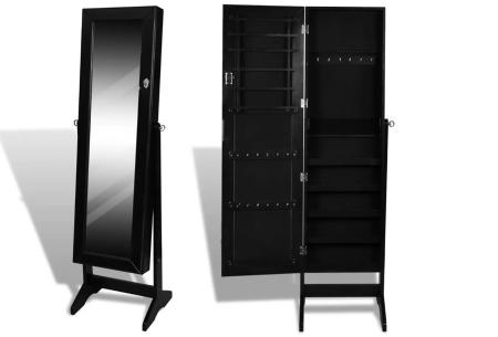 Sieradenkast met spiegel | Stijlvol je sieraden opbergen! Staand model of deurhanger #2 zwart
