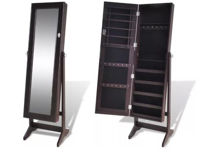 Sieradenkast met spiegel | Stijlvol je sieraden opbergen! Staand model of deurhanger #2 bruin