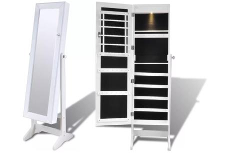 Sieradenkast met spiegel | Stijlvol je sieraden opbergen! Staand model of deurhanger #3 wit