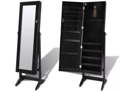 Sieradenkast met spiegel | Stijlvol je sieraden opbergen! Staand model of deurhanger #3 zwart