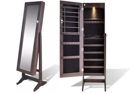 Sieradenkast met spiegel | Stijlvol je sieraden opbergen! Staand model of deurhanger #3 bruin
