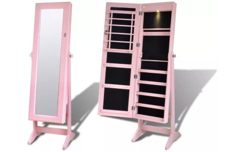 Sieradenkast met spiegel | Stijlvol je sieraden opbergen! Staand model of deurhanger #4 roze