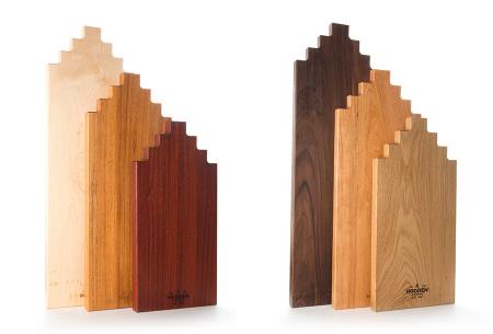 Wooden Amsterdam houten serveerplanken   In de vorm van een grachtenpand