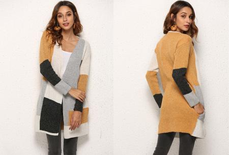 Colorblock vest | Stijlvolle en trendy cardigan geel