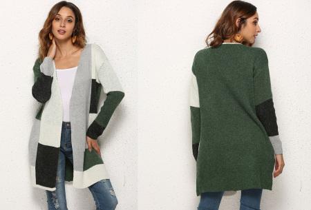 Colorblock vest | Stijlvolle en trendy cardigan groen
