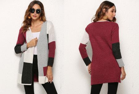 Colorblock vest | Stijlvolle en trendy cardigan rood