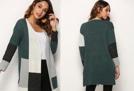 Colorblock vest | Stijlvolle en trendy cardigan blauw
