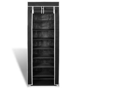 Stoffen schoenenkast | Voor circa 20 paar schoenen 162 x 57 x 29 cm - zwart