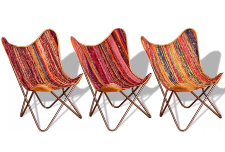 Lederen vlinderstoel | Keuze uit 5 kleuren