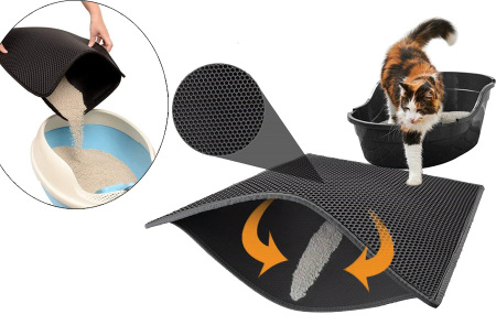 Dubbellaags kattenbakmat | Houd je huis kattenbakvulling vrij!