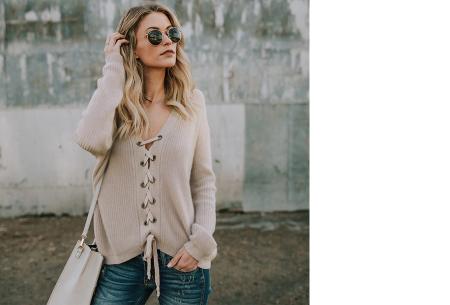Laced sweater | Originele & comfortabele veter trui voor een hippe look khaki