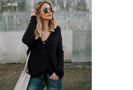 Laced sweater | Originele & comfortabele veter trui voor een hippe look zwart