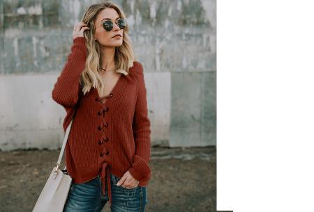 Laced sweater | Originele & comfortabele veter trui voor een hippe look wijnrood