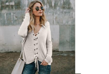 Laced sweater | Originele & comfortabele veter trui voor een hippe look wit