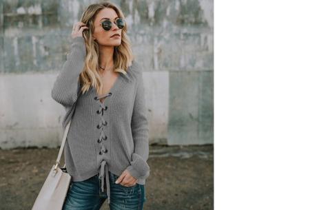 Laced sweater | Originele & comfortabele veter trui voor een hippe look grijs