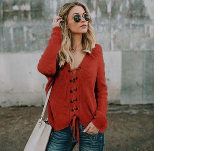 Laced sweater | Originele & comfortabele veter trui voor een hippe look rood