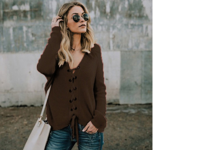 Laced sweater | Originele & comfortabele veter trui voor een hippe look coffee