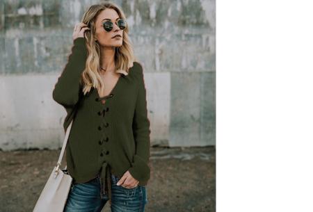 Laced sweater | Originele & comfortabele veter trui voor een hippe look legergroen