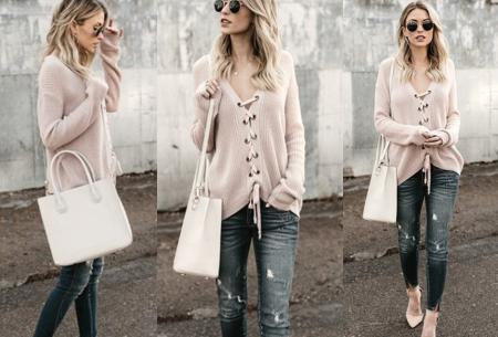 Laced sweater | Originele & comfortabele veter trui voor een hippe look