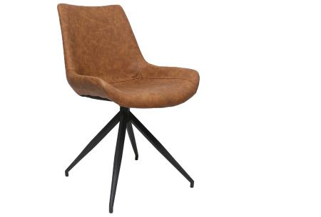 Oscar stoelen | Moderne design eetkamerstoel met stoere uitstraling cognac