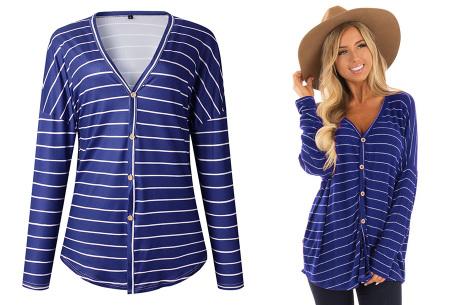Loose fit v-neck shirt | Keuze uit 17 kleuren - Je favoriete nieuwe item!  B blauw