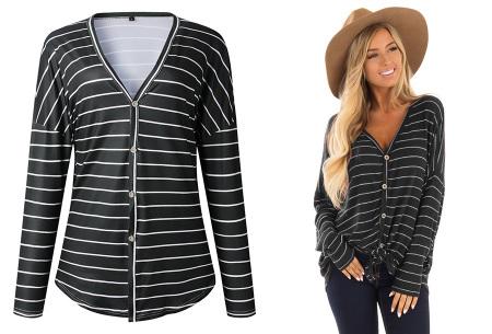 Loose fit v-neck shirt | Keuze uit 17 kleuren - Je favoriete nieuwe item!  B zwart