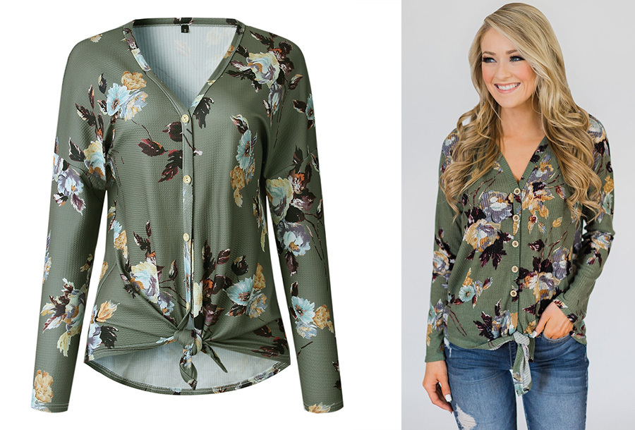 Loose fit v-neck shirt Maat S - Legergroen - E