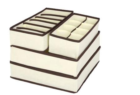 Kleding organizerset 4-delig | Overzichtelijke opbergboxen voor je garderobe beige