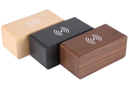 Woodlook digitale wekker met ingebouwde draadloze Qi oplader