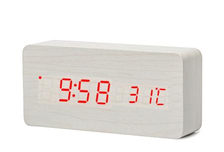 Woodlook digitale wekker met ingebouwde draadloze Qi oplader wit