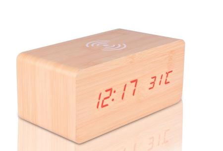 Woodlook digitale wekker met ingebouwde draadloze Qi oplader lichtbruin