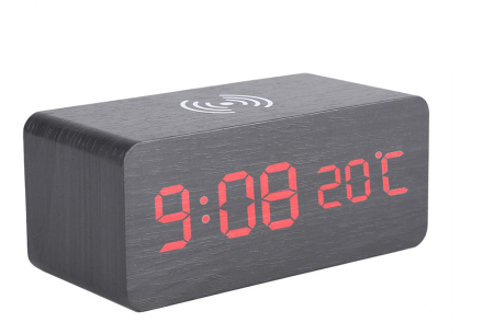 Woodlook digitale wekker met ingebouwde draadloze Qi oplader zwart