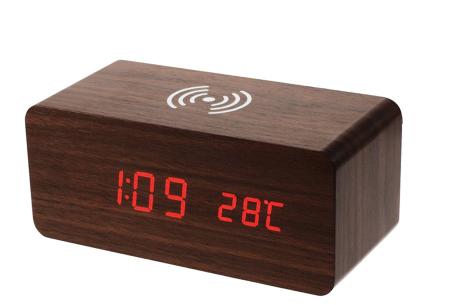 Woodlook digitale wekker met ingebouwde draadloze Qi oplader donkerbruin