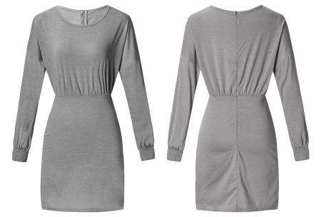 Getailleerde jurk | Heerlijk comfortabele jurk met vrouwelijke uitstraling grijs