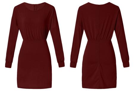 Getailleerde jurk | Heerlijk comfortabele jurk met vrouwelijke uitstraling wijnrood