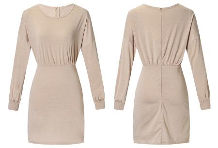 Getailleerde jurk | Heerlijk comfortabele jurk met vrouwelijke uitstraling khaki