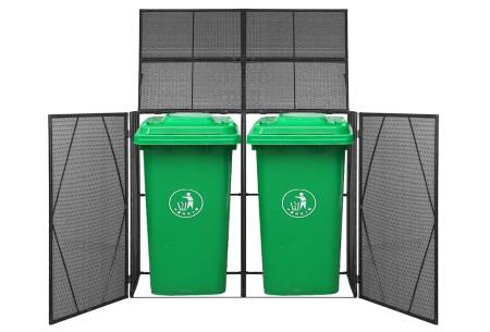 Rattan containerberging | Voor 1 of 2 kliko's Dubbel zwart