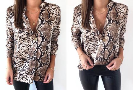 Snake print blouse | Hippe damesblouse met slangenprint voor een stijlvolle look