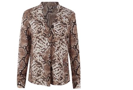 Snake print blouse | Hippe damesblouse met slangenprint voor een stijlvolle look bruin